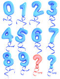 Balloon number. Blue balloon number  and symbol Stock Images