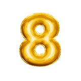 Balloon number 8 Eight 3D golden foil realistic alphabet. Balloon number 8 Eight. Realistic 3D isolated gold helium balloon abc alphabet golden font text Stock Photography
