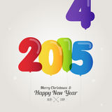 Balloon number on merry christmas and happy new year 2015 is com Royalty Free Stock Image