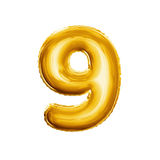 Balloon number 9 Nine 3D golden foil realistic alphabet. Balloon number 9 Nine. Realistic 3D isolated gold helium balloon abc alphabet golden font text Stock Images