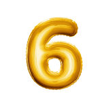 Balloon number 6 Six 3D golden foil realistic alphabet. Balloon number 6 Six. Realistic 3D isolated gold helium balloon abc alphabet golden font text. Decoration Royalty Free Stock Photo