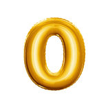 Balloon number 0 Zero 3D golden foil realistic alphabet. Balloon number 0 Zero. Realistic 3D isolated gold helium balloon abc alphabet golden font text stock image