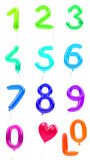 Balloon numbers 0-9 red Royalty Free Stock Images