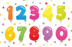 Balloon numbers set. For birthday and party festive design. Stock Photography