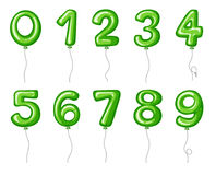 Balloon numbers zero to nine in green color Royalty Free Stock Photos