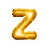 Balloon o alfabeto realístico da folha dourada da letra Z 3D Fotografia de Stock