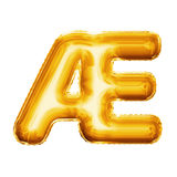 Balloon o alfabeto realístico da folha dourada da ligadura 3D da AE da letra Fotografia de Stock Royalty Free