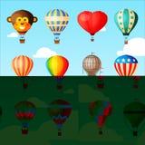 Balloon o ar-balão ou o aerostat dos desenhos animados do vetor com voo da cesta no céu e na ilustração ballooning do voo da aven ilustração do vetor