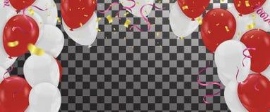Balloon o bunc lustroso dos balões da decoração branca vermelha do aniversário do partido ilustração do vetor