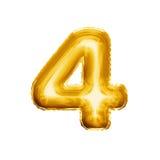 Balloon o número 4 alfabeto realístico da folha quatro 3D dourada Imagens de Stock
