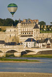 Balloon over Amboise City Stock Photo