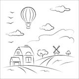 Balloon over the country. Beautiful balloon over the country Royalty Free Stock Images