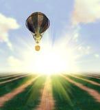 Balloon over Grass Field. Hot air balloon over grass field background Stock Photo