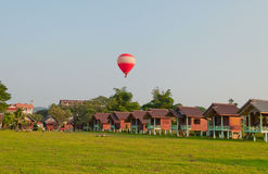 Balloon over the land. Vang Vieng. Laos. Stock Photography