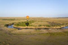Balloon over the Mara river in Kenya/Tansania Royalty Free Stock Image