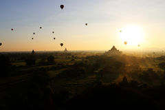 Balloon over pagoda fields, Bagan , Myanmar royalty free stock images