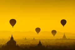Balloon over plain of Bagan, Myanmar Stock Photos