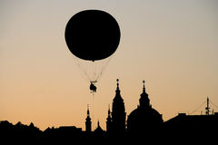 Balloon over Prague Stock Photo