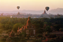 Balloon over temples of Bagan Stock Photos