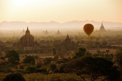 Balloon over temples of Bagan Stock Images