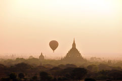 Balloon over temples of Bagan Stock Image