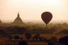 Balloon over temples of Bagan Stock Photo