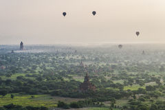 Balloon over The Temples of Bagan Stock Image