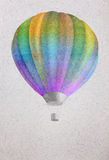 Balloon over watercolor sea landscape paper grunge background or Stock Image