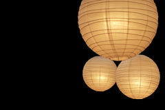 Balloon paper lamps on right Royalty Free Stock Images