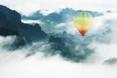 Balloon in the Paradise. Balloon float in the mist Royalty Free Stock Photo