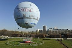 Balloon in the Parc Andre Citroen, Paris Royalty Free Stock Photo