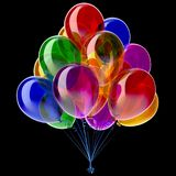 Balloon party birthday balloons bunch decoration colorful on black. Balloon party birthday balloons bunch decoration colorful multicolored different. 3d stock illustration