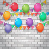 Balloon and party flags on brickwall background. Balloon and bunting, garland decoration, party flags on white and grey brickwall background stock illustration
