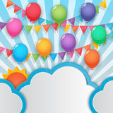 Balloon and party flags sky background Stock Photo