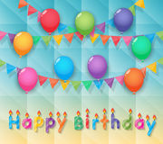 Balloon and party flags sky background Royalty Free Stock Image