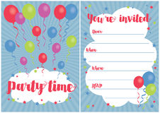 Balloon party invitation Royalty Free Stock Photography