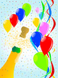 Balloon Party. Multi coloured balloons, confetti and streamers, a party image Stock Photo