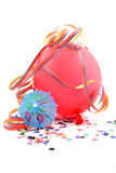 Balloon and party streamers Stock Photo
