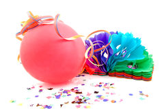 Balloon and party streamers for birthday Stock Photo