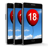 Balloon Phone Represents Eighteenth Happy Birthday Celebration Stock Photos