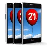 21 Balloon Phone Shows Twenty-first Happy Birthday Celebration Stock Image
