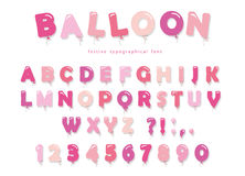 Balloon pink font. Cute ABC letters and numbers. For birthday, baby shower. Girly. Vector EPS10 stock illustration