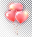 Balloon pink heart set. Symbol of love. Gift. Valentine s day . Vector realistic 3d object. Isolated vector object on a. Transparent background Royalty Free Stock Images