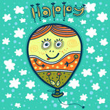 The balloon with a portrait of a happy girl. And text Happy, flies in the sky among white clouds Stock Image
