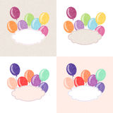 Balloon postcard. Vector postcard with colorful balloons and a space for text Stock Photos