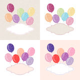 Balloon postcard. Vector postcard with colorful balloons and a space for text Royalty Free Stock Images