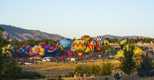 Balloon Race. Hot Air Balloon Race begins Stock Photo