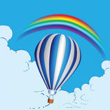 Balloon and rainbow. Balloon in the clouds and a rainbow. Vector illustration Royalty Free Stock Images