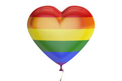 Balloon with rainbow gay pride flag in the shape of heart, 3D re Royalty Free Stock Photography