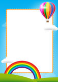 Balloon and rainbow with text box Stock Images